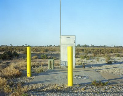 yellow bollards, Lake Boga, Vic